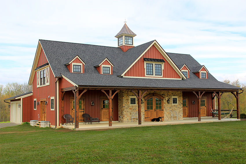 Timber frame home stylized as a barn
