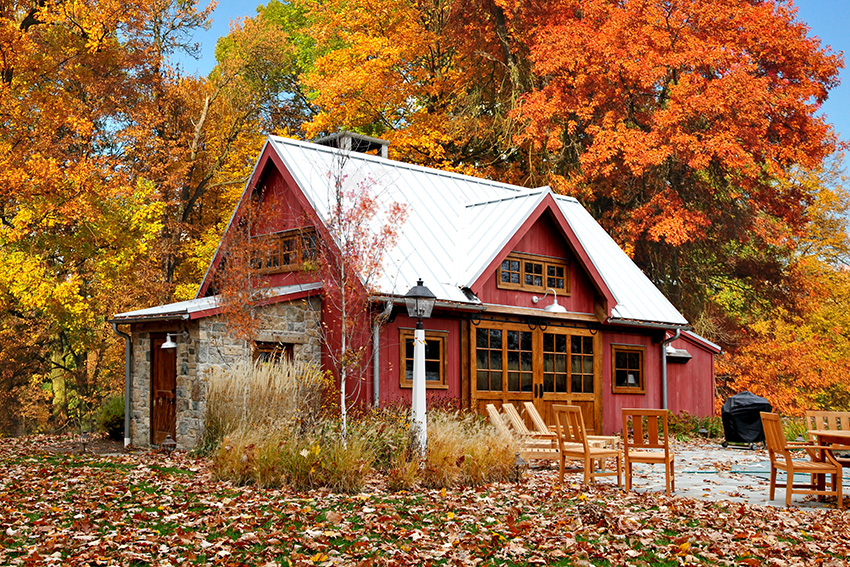 Red timber frame pool house