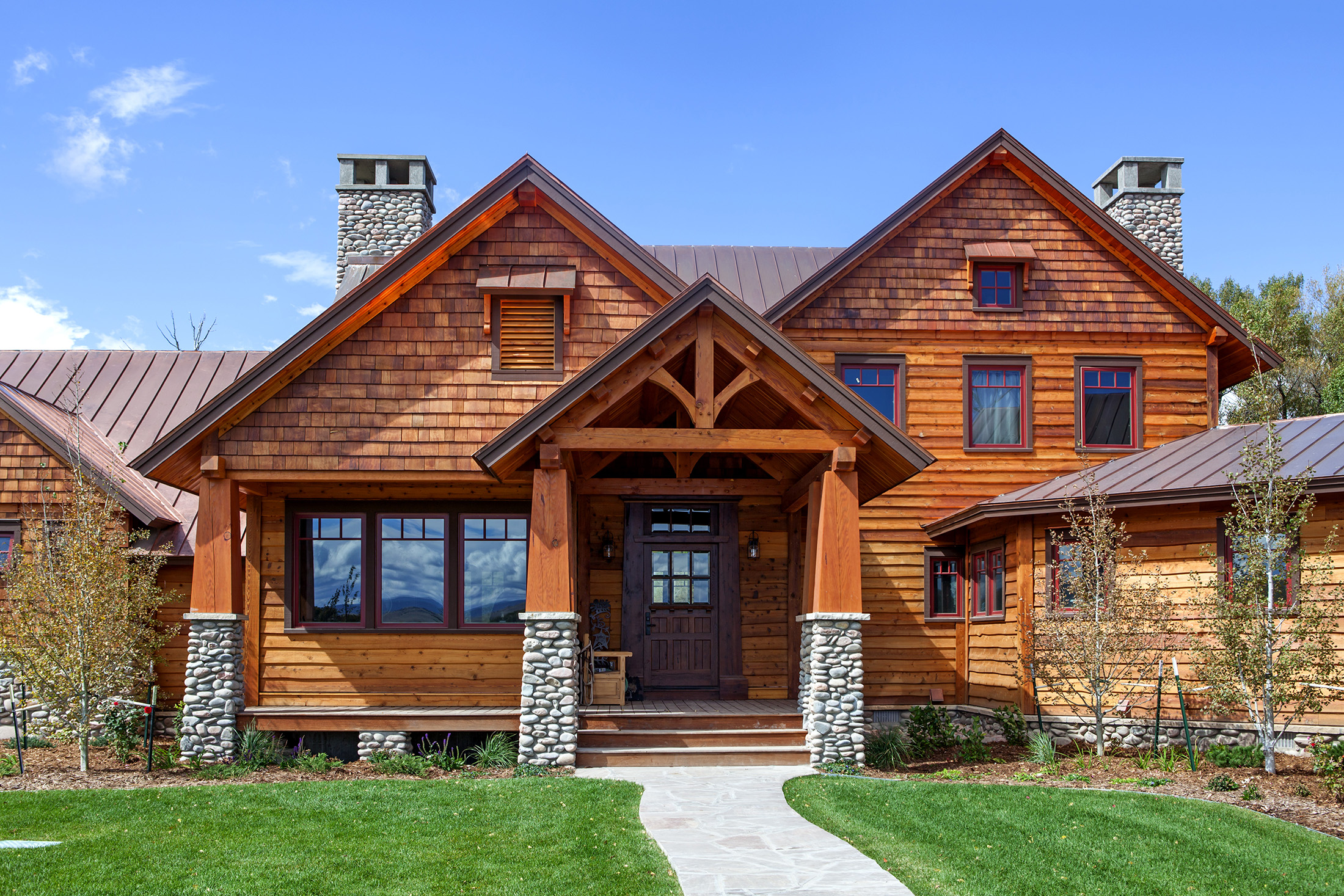 Timber frame home with front walk