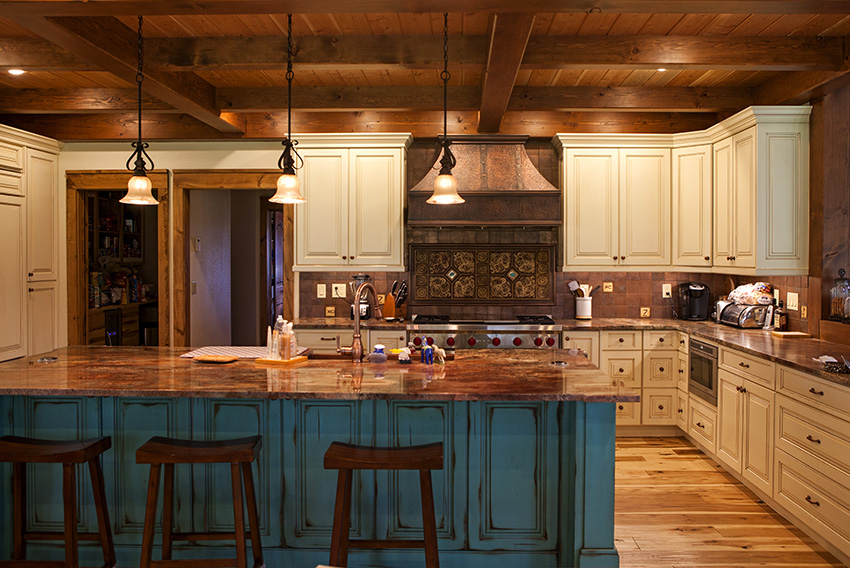 Open kitchen concept with timber frame beams
