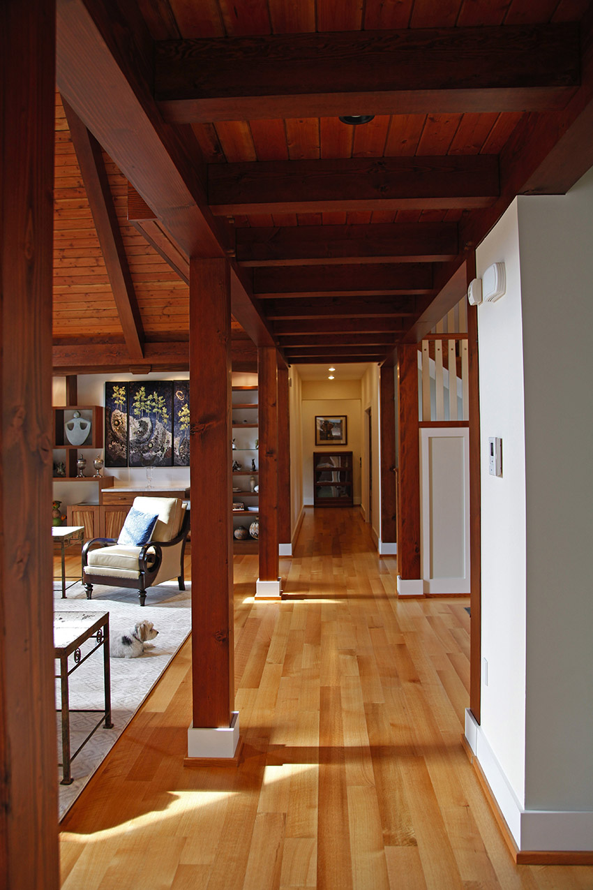 Hallway with timber frame support beams