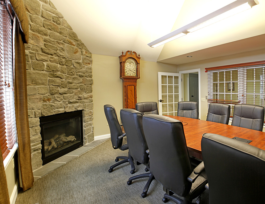 Conference room with stone fireplace