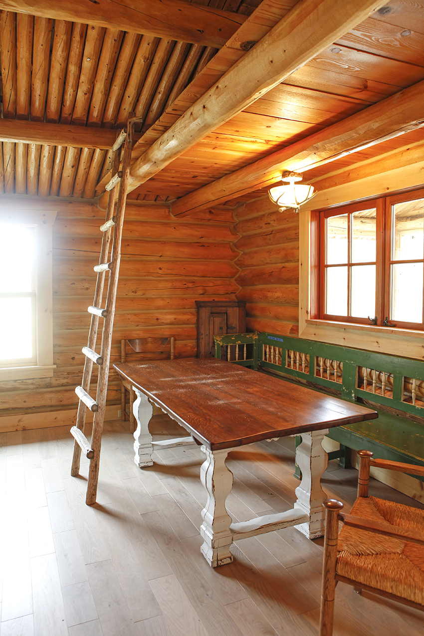 Dining area with farm table