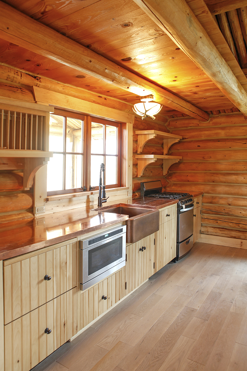Custom wood kitchen with big windows
