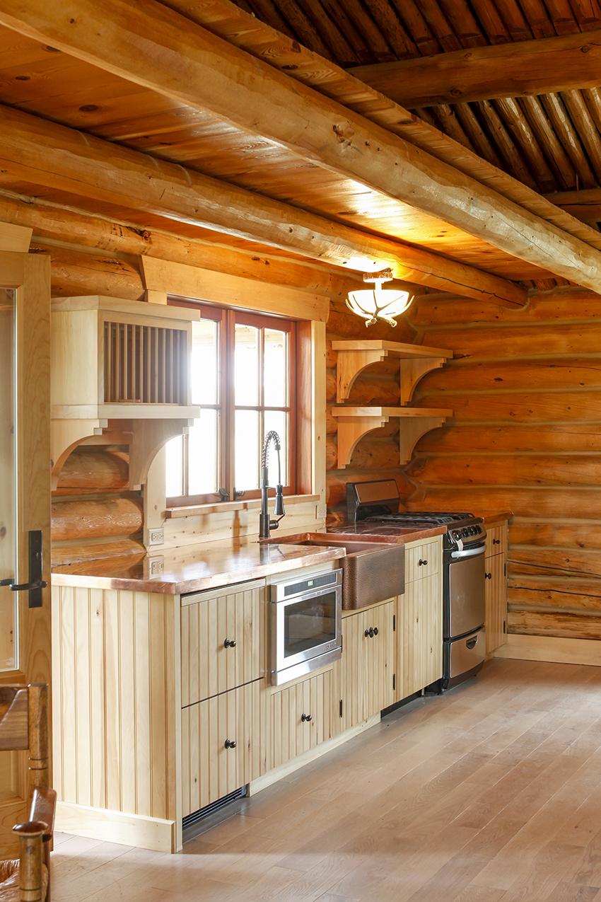 Wood cabin kitchen area