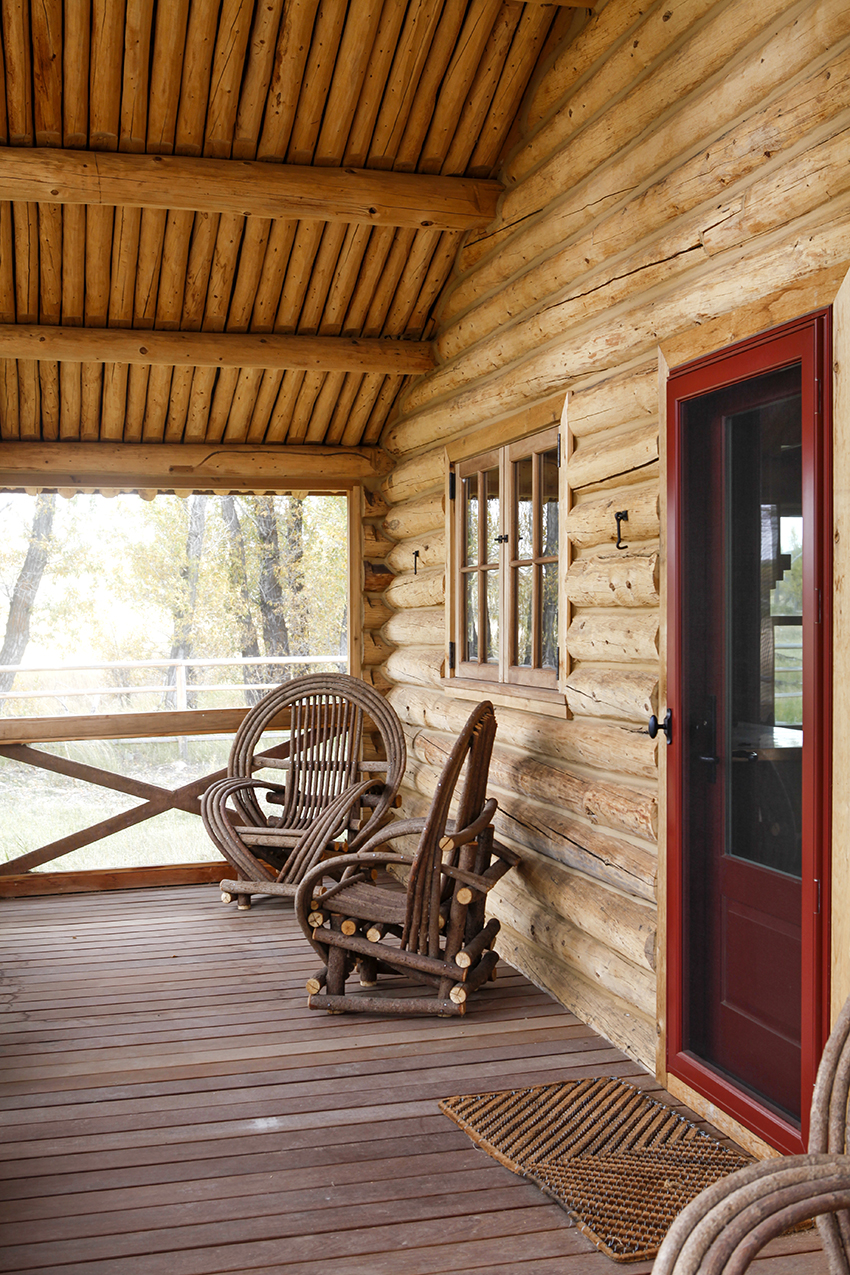 Wood cabin front porch