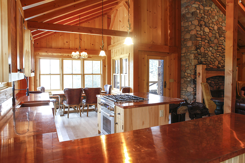 Copper kitchen countertops and island