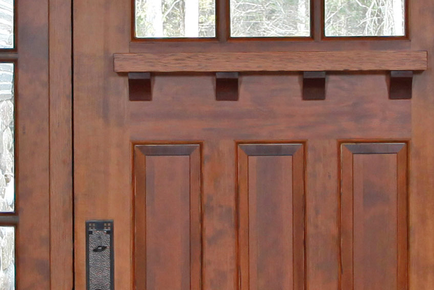 A detailed view of the sapele mahogany exterior door