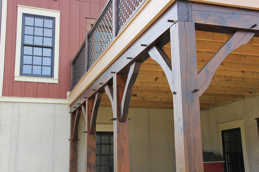 Detail photo of beams supporting a deck