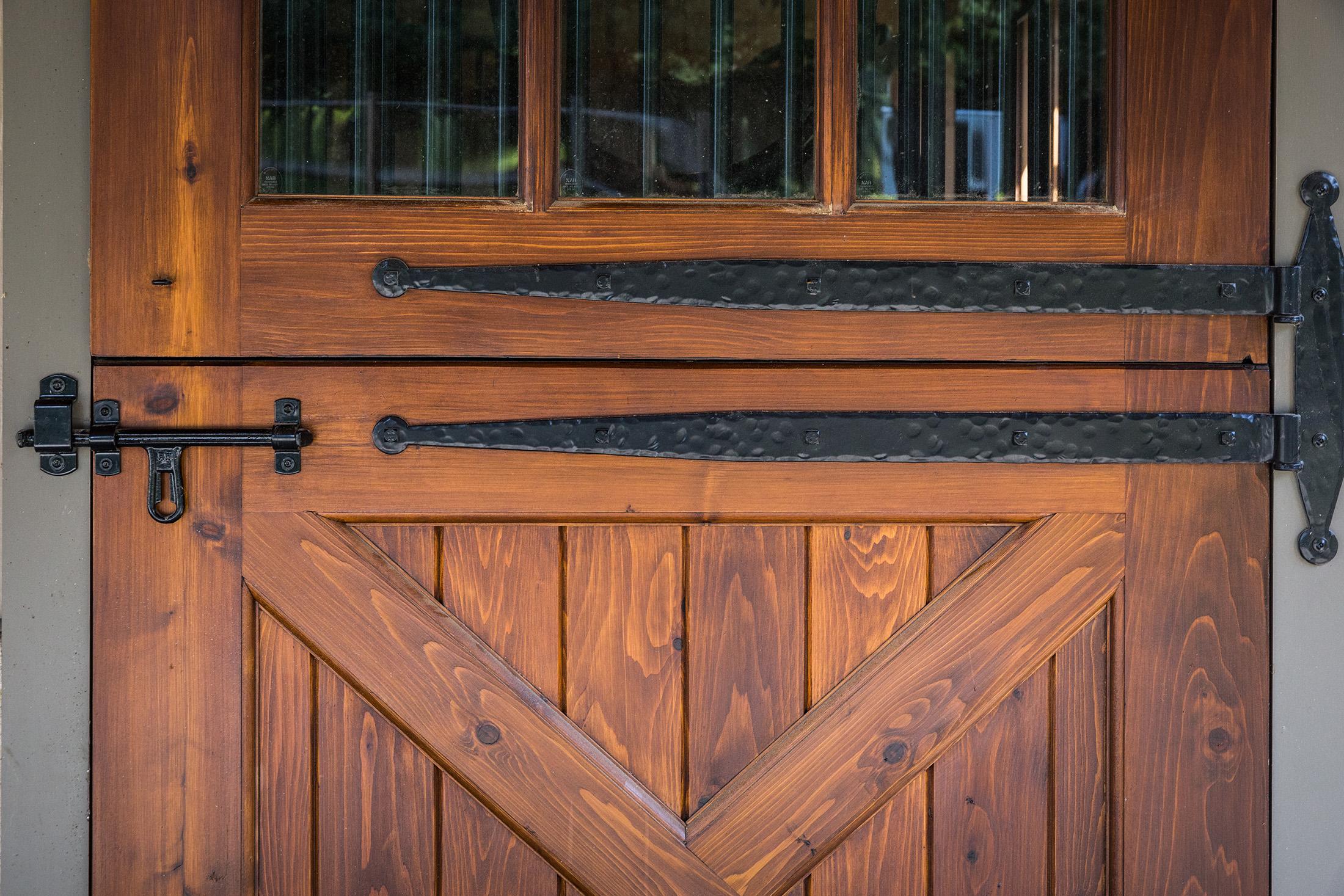 Barn door detail with stall door slider latch
