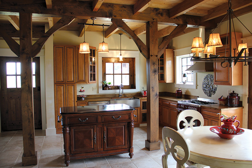 Timber frame kitchen with wood beams
