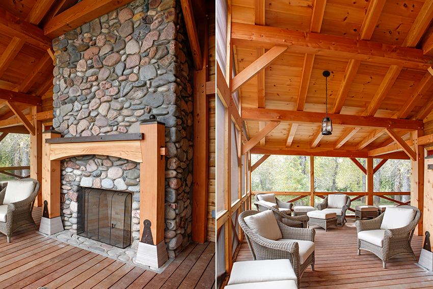Stone outdoor fireplace and wicker furniture