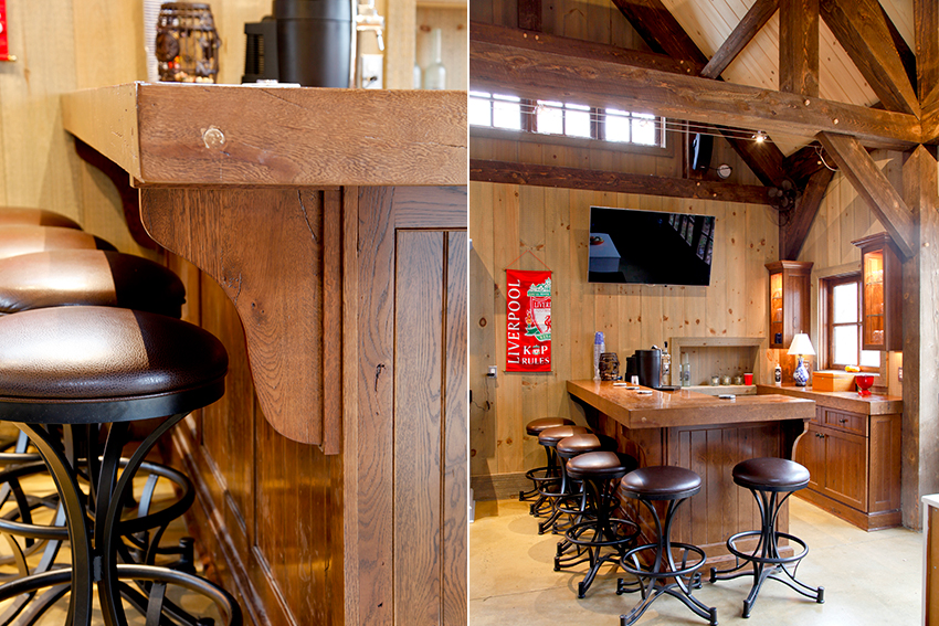 Pool house bar with stools