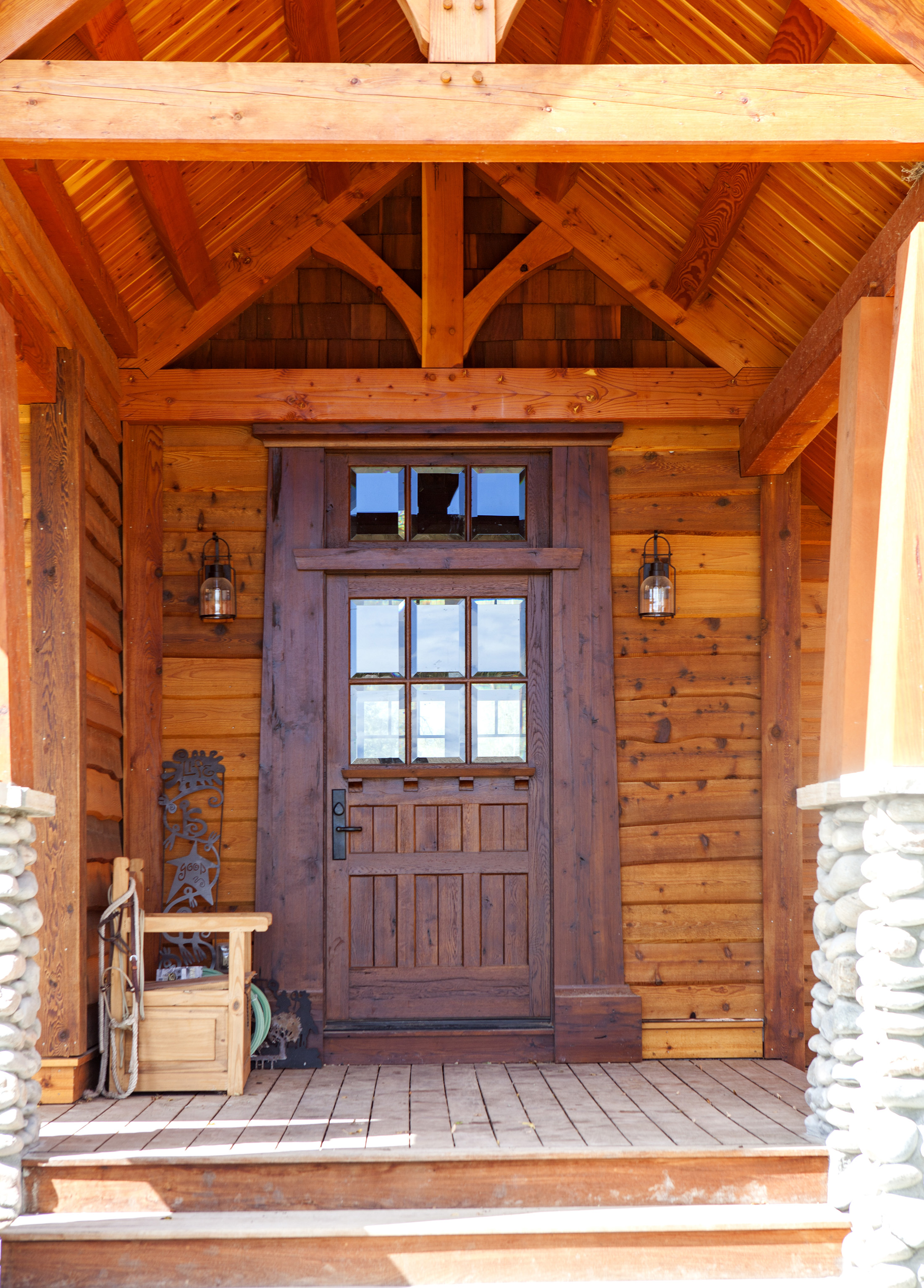 Entranceway to timber frame home made from reclaimed white oak