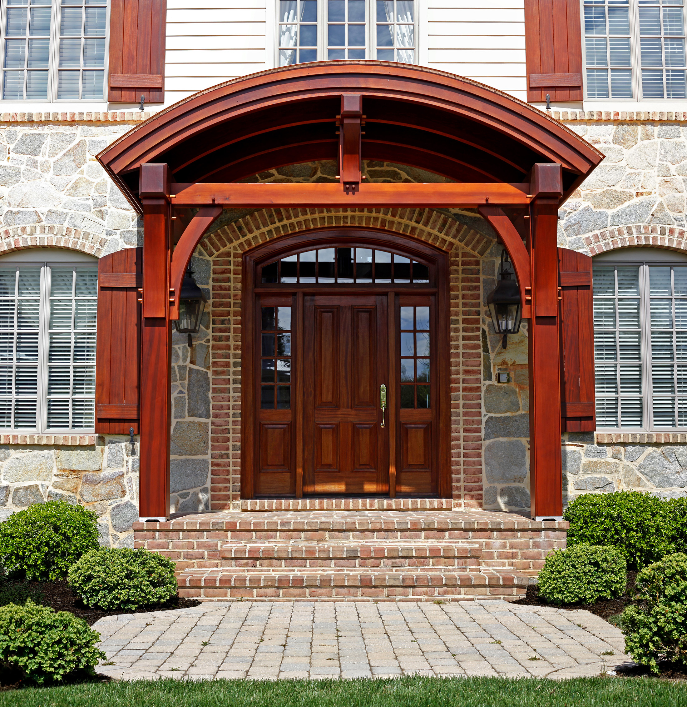 Mahogany front door and entrance way