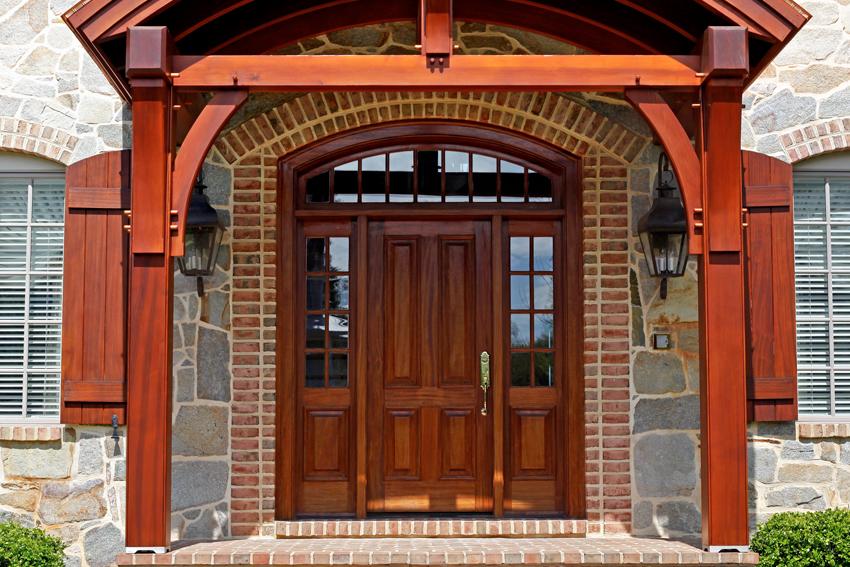 Mahogany front door and entrance way