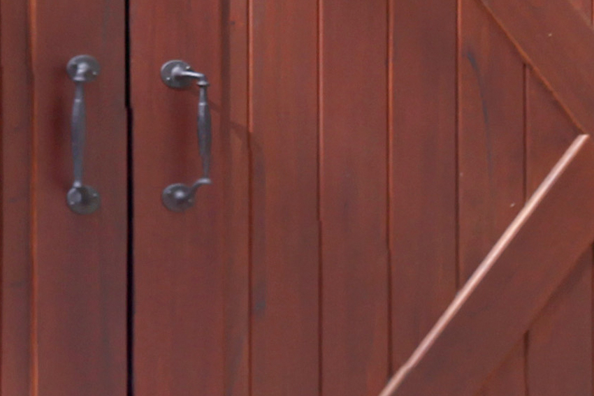 Detail of the door pull on a set of carriage doors