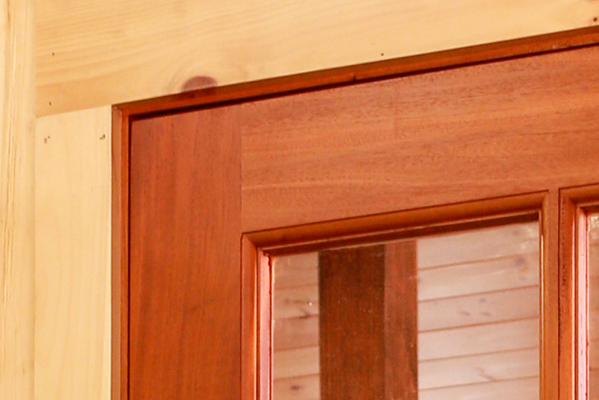Detail of solid wood casing and stable door