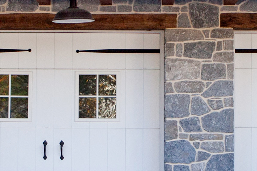 Detail of painted door in stone barn