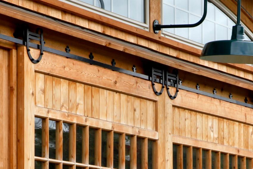 Track and Trolley detail of custom slider barn door