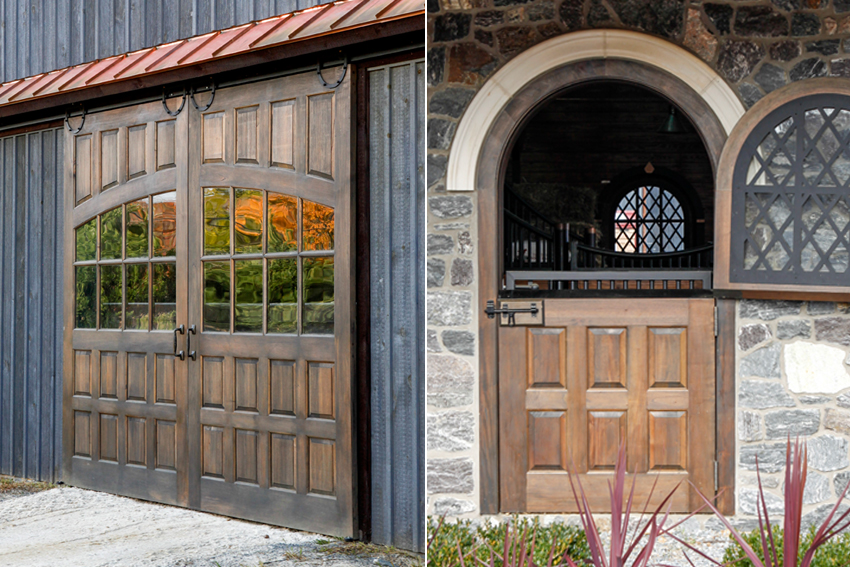Two examples of custom wooden doors with windows