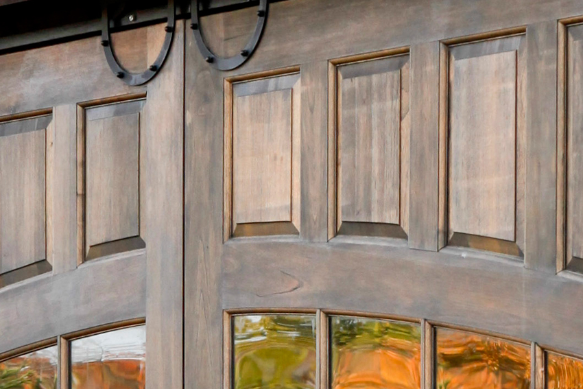 Detailed view of sliding solid wood door