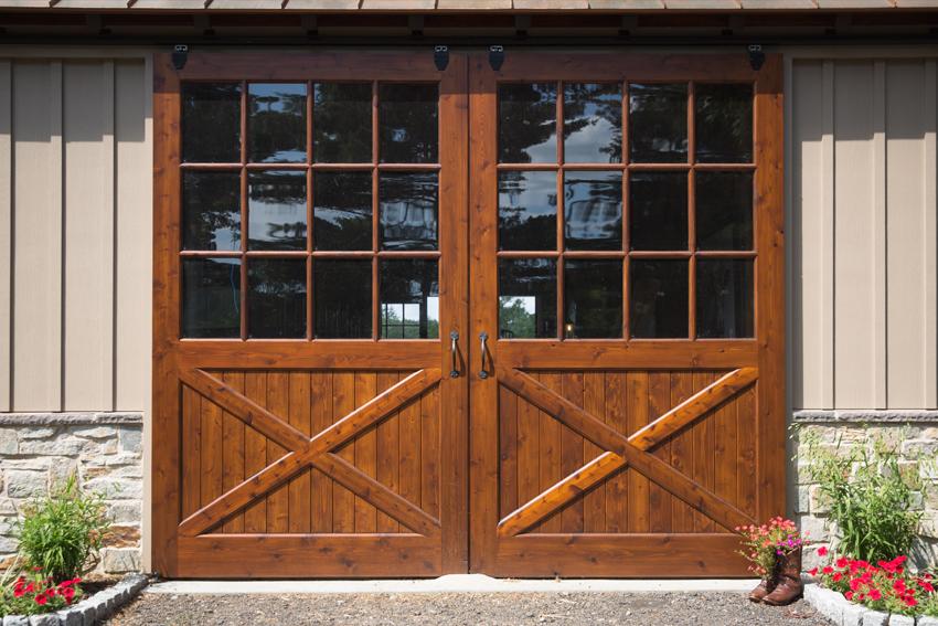 Sliding custom design barn doors with windows