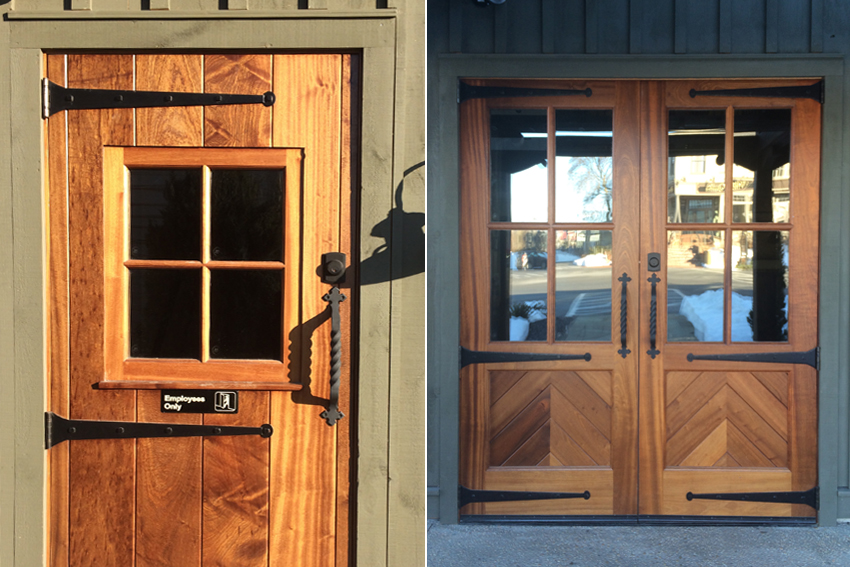 Retail entry doors made from reclaimed wood