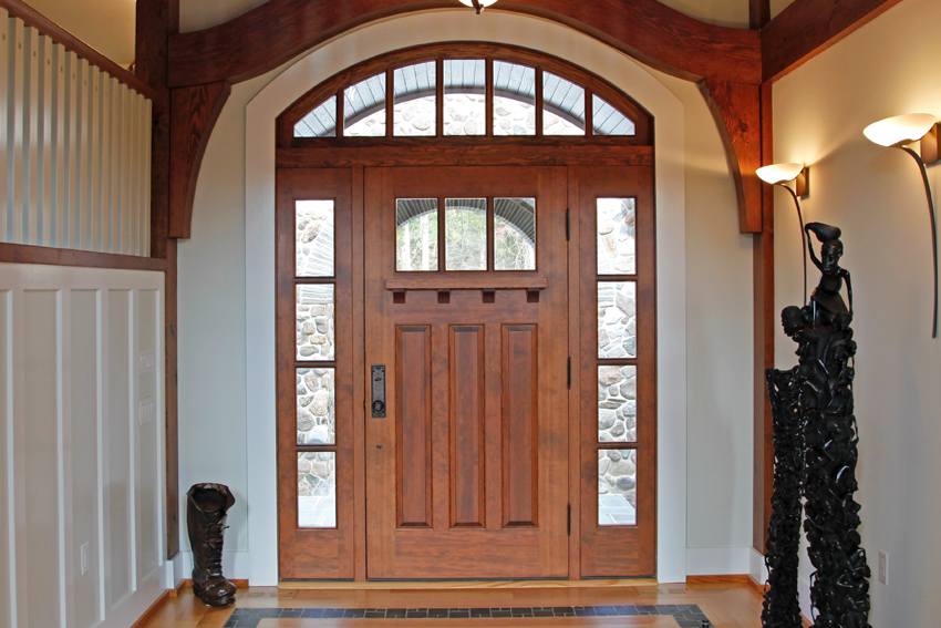 Custom entry door made from sapele mahogany