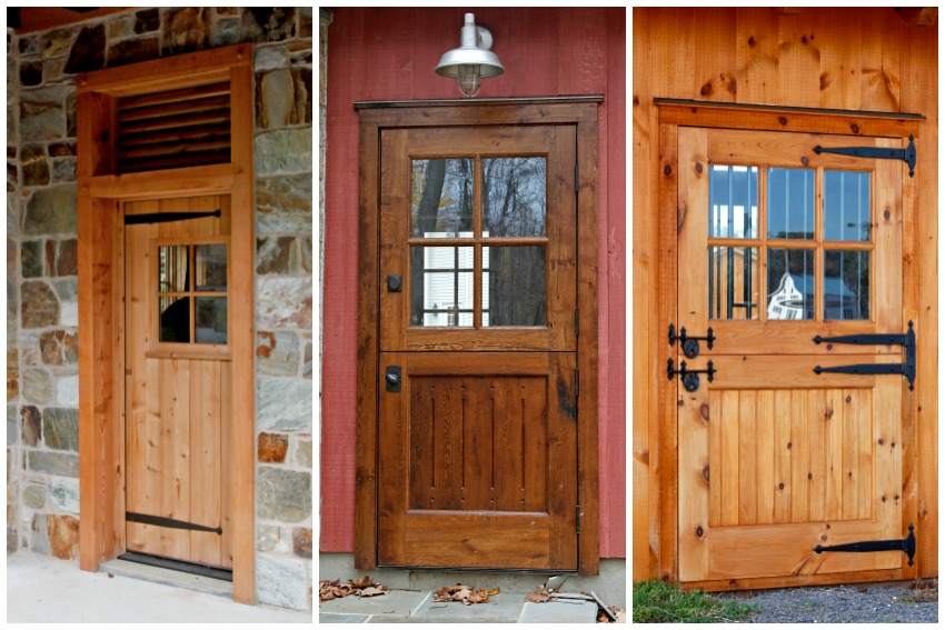 Three doors made from different wood species