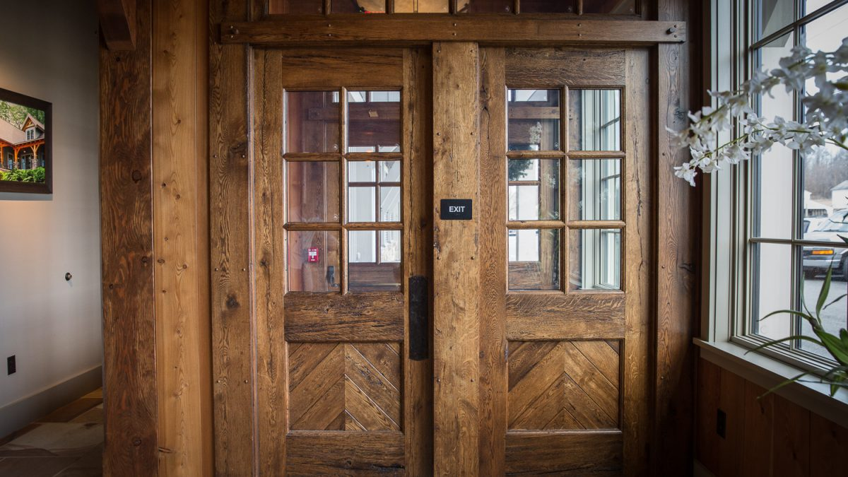 Entryway doors from reclaimed doors