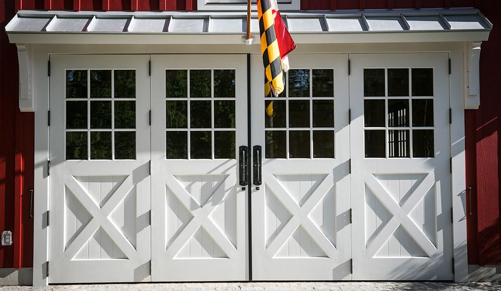 White bifold wood doors