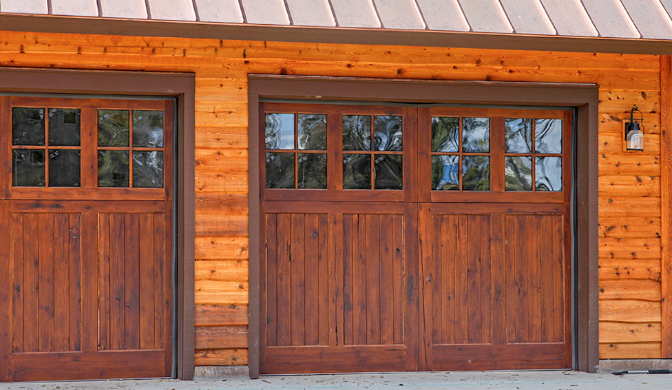 Solid wood overhead garage door