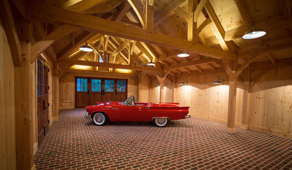 inside view of timber frame garage with custom doors